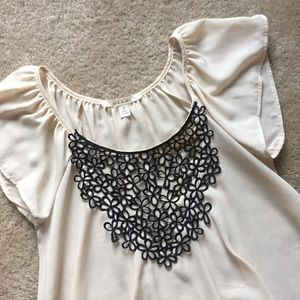 Cream Blouse with Floral stitching